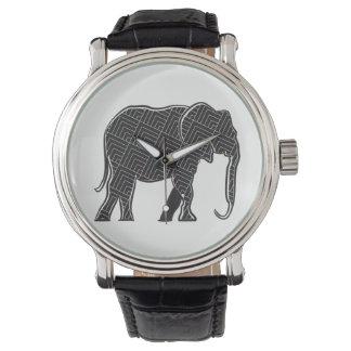 Elephant Black Stylish Pattern Silhouette Elegant Watch