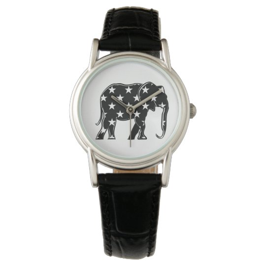 Elephant Black Stylish Silhouette Cool Pattern Watch