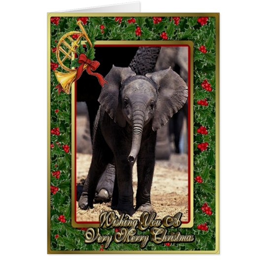 Elephant Blank Christmas Card