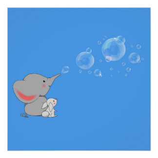 Elephant blowing bobbles poster
