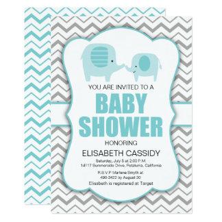 Elephant, Blue Grey Chevron Baby Shower Invitation