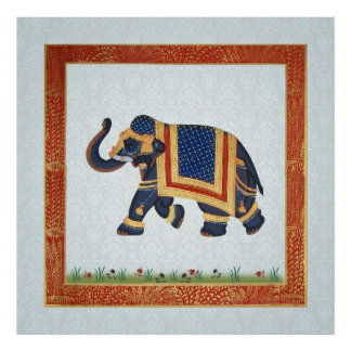 Elephant blue white red gold print Poster