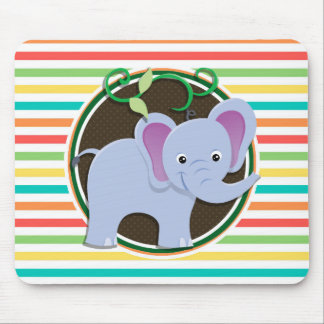 Elephant; Bright Rainbow Stripes Mouse Pads