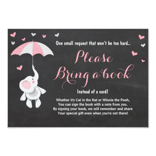 Elephant Bring a Book Card Pink Girl Baby
