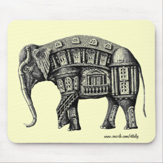 Elephant Building pen ink black and white drawing Mouse Mat