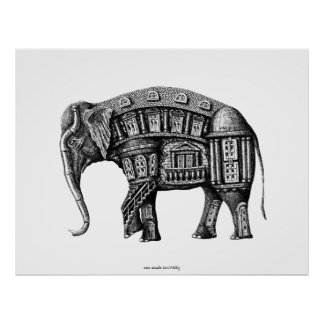 Elephant Building pen ink black and white drawing Poster