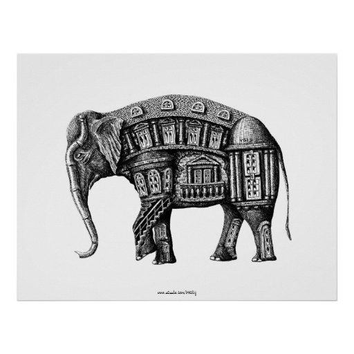 Elephant Building pen ink black and white drawing Print
