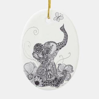 Elephant Butterfly Christmas Ornament