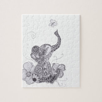 Elephant Butterfly Jigsaw Puzzle