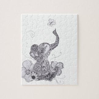 Elephant Butterfly Jigsaw Puzzle