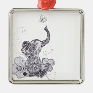 Elephant Butterfly Silver-Colored Square Decoration