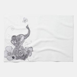 Elephant Butterfly Tea Towel