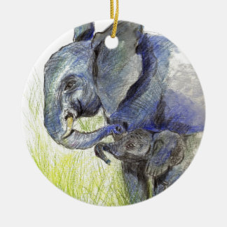 Elephant Calf and Mother, watercolor pencil Round Ceramic Decoration