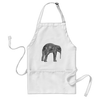Elephant Calf in Black and White Standard Apron