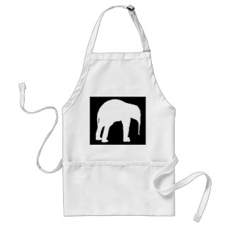 Elephant Calf White Silhouette, Black Background Standard Apron