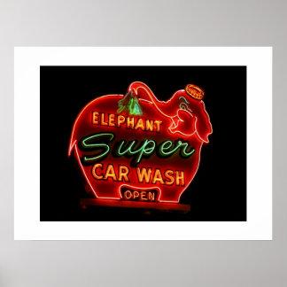 Elephant Car Wash-Print Poster