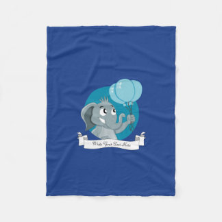 Elephant cartoon fleece blanket