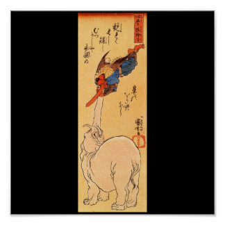 Elephant catching a flying Tengu. Circa 1800's Poster