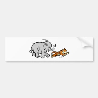 Elephant Chasing Tiger Bumper Stickers