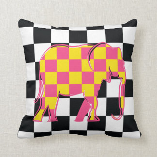 Elephant Checkered Pink Yellow Cool Silhouette Cushion