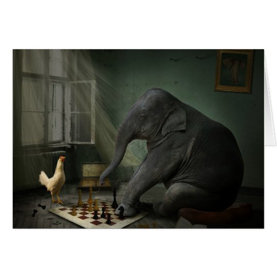Elephant Chess Greeting Card