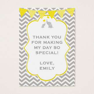 Elephant Chevron Baby Shower Gigf Favor Tag Label Business Card