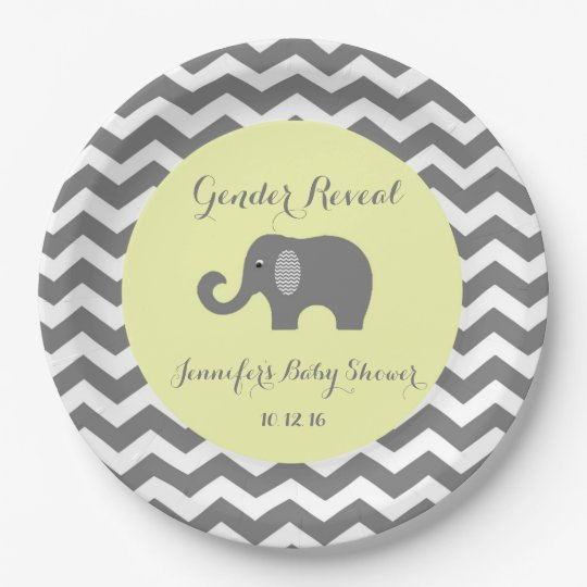 Elephant chevron baby shower plates: Gender Reveal Paper