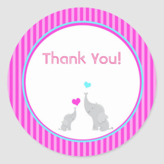 Elephant Chevron Hot Pink Baby Shower Sticker