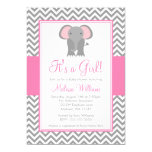 Elephant Chevron Pink Grey Girl Baby Shower 13 Cm X 18 Cm Invitation Card