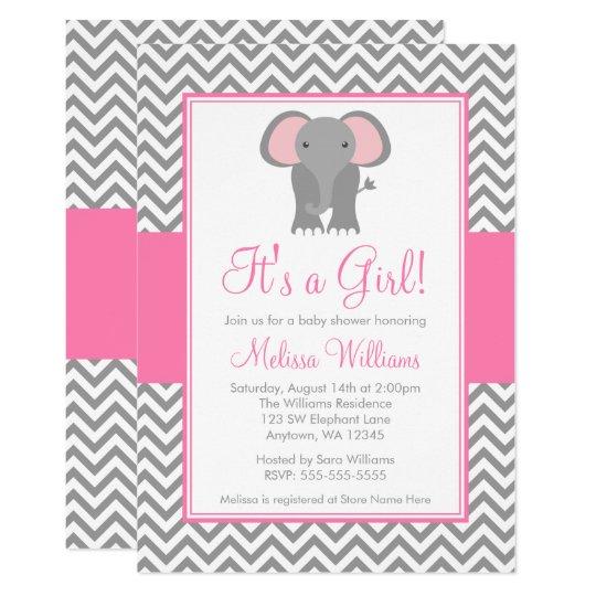 Elephant Chevron Pink Grey Girl Baby Shower Card