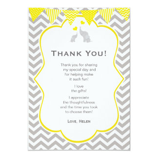 Elephant Chevron Yellow Baby Shower Thank You Card