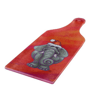 Elephant Christmas On Red Cutting Board