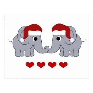 Elephant Christmas Postcard