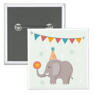 Elephant Circus Birthday Party Favor 15 Cm Square Badge