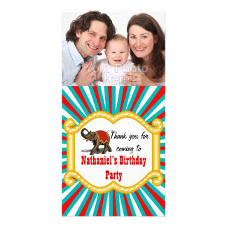 Elephant Circus Frame Kids Boys Birthday Party Custom Photo Card