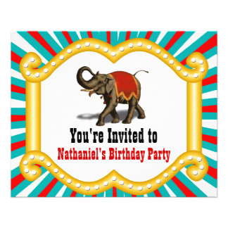 Elephant Circus Kids Birthday Party Invitation 11.5 Cm X 14 Cm Flyer