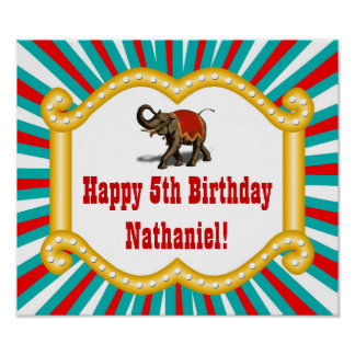Elephant Circus Kids Boys Birthday Party Banner Poster