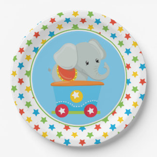 Elephant   Circus Train   Circus Themed 9 Inch Paper Plate