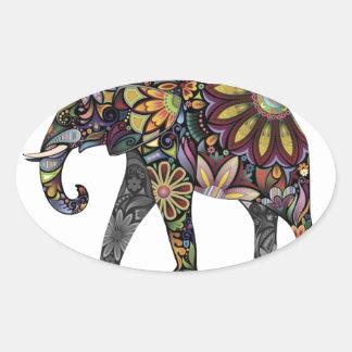 Elephant Colorful Oval Sticker