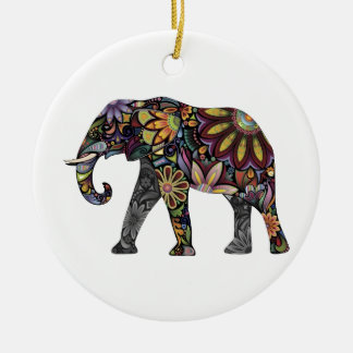 Elephant Colorful Round Ceramic Decoration