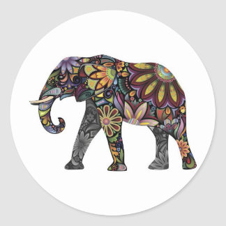 Elephant Colorful Round Sticker