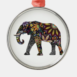 Elephant Colorful Silver-Colored Round Decoration