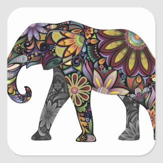 Elephant Colorful Square Sticker