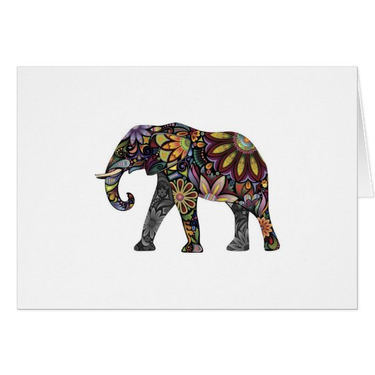 Elephant Colourful Card