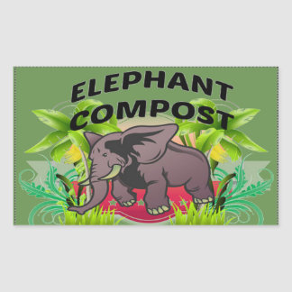 Elephant Compost Stickers! Rectangular Sticker