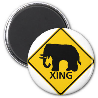 Elephant Crossing Highway Sign Refrigerator Magnets
