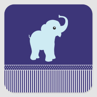 Elephant cute polka dots & stripes blue stickers