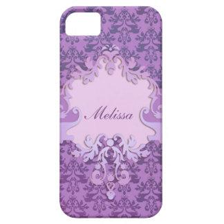 Elephant damask lilac name iphone case