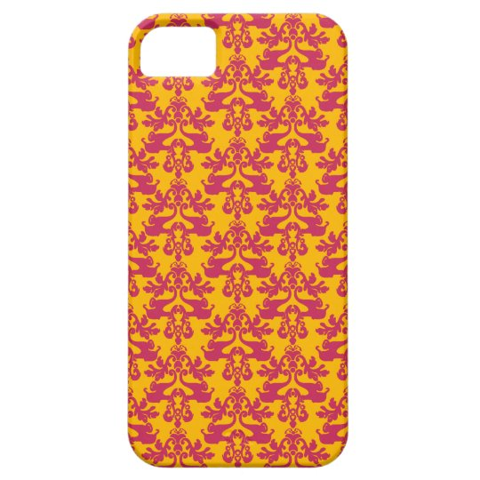 Elephant damask mauve golden orange iphone 5 case