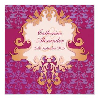 Elephant damask red golden wedding square invite